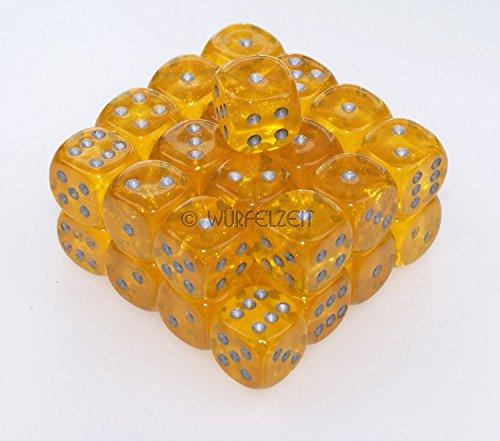 Würfelzeit 7302 - Würfel w6 12 mm, Cosmoo borealis feueropal-gelb m/silber (32er Set in - Würfel Gelb In 12mm