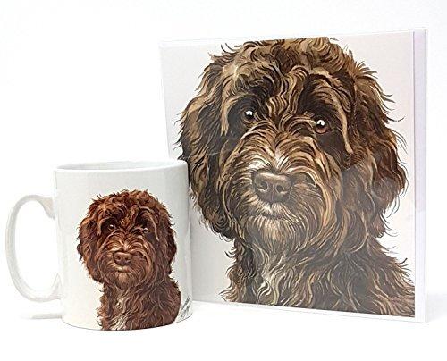 Ensemble 2 pièces Cockapoo chien fabriqué en Royaume-Uni Tasse en céramique mug pot accueil anniversaire carte de Noël