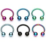 PiercedOff Multipack of 6 Assorted Colour Titanium IP Circular Barbells Horseshoe 16GA (1.2mm x 8mm)