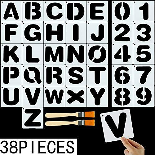 FANTESI 36 Stück Alphabet-Vorlagen, Plastik Buchstaben-Schablone mit Alphabet-Zahlen und Zeichen mit 2 Pinseln, Wiederverwendbare Kunststoff-Schablonen (Zeichen Mit Buchstaben)