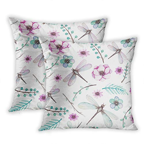 Nekkzi Cushion Covers Set of Two Print Colorful Watercolor Pink Flowers Dragonflies and Light Blue Leaves Sofa Home Decorative Throw Pillow Cover 18x18 Inch Pillowcase Hidden Zipper -