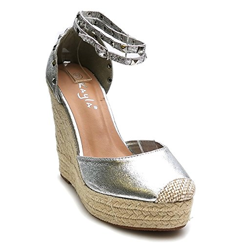 Trendige Damen Riemchen Keil Sandaletten Pumps Keilabsatz Wedges High Heels Schuhe Bequem KA1 Silber