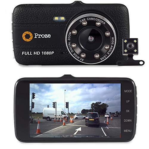 Proze Dashcam 4.0 Autokamera Full HD Dual Lens Kamera mit Rückfahrkamera