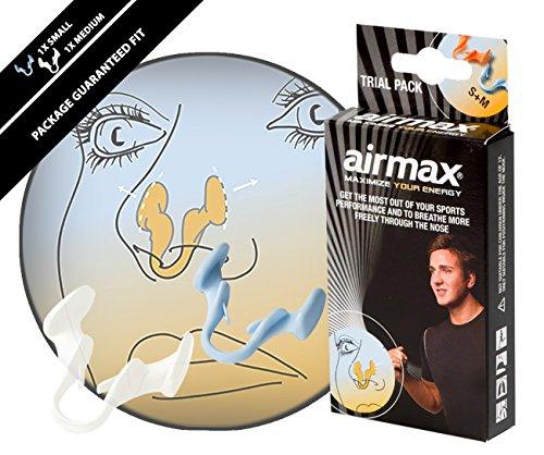 Airmax Nasenklammer, gegen Verstopfungen der Nase, Sportausführung, 2Stück in Größen S und M