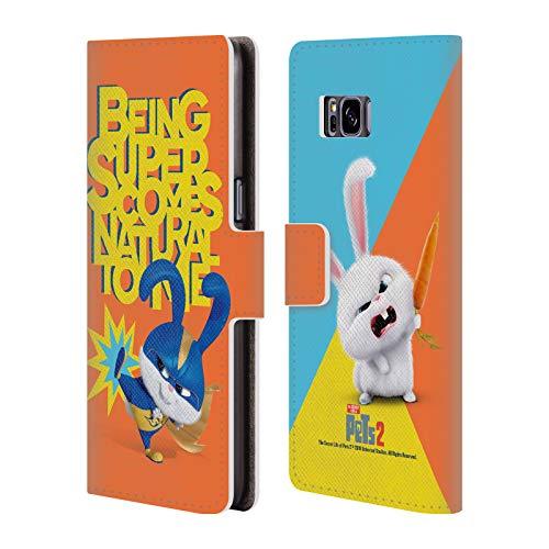 Head Case Designs Offizielle The Secret Life of Pets 2 Snowball Kaninchen Kostuem II for Pet's Sake Leder Brieftaschen Huelle kompatibel mit Samsung Galaxy S8