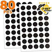 Magnetic Dots - 80 Self Adhesive Magnet Dots (Diameter 2cm) - Peel & Stick Magnetic Circles - Flexible Sticky Magnets - Sheets is Alternative to Magnetic Squares, Stickers, Strip and Tape