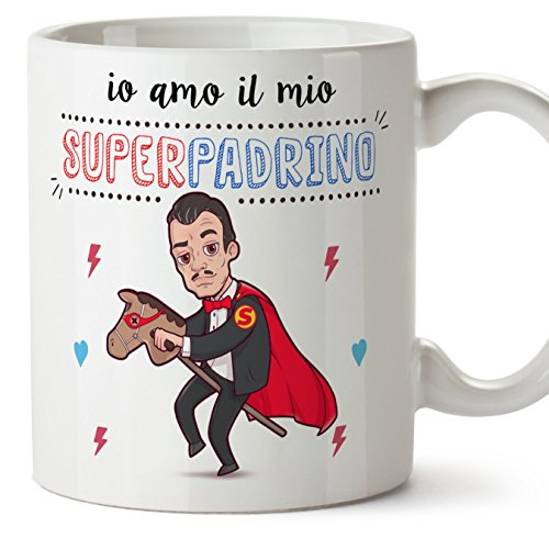 Mugffins Padrino Tazza/Mug - Io Amo Il Mio Super Padrino - Idea Regalo Giorno di Pasqua/Battesimo - Tazza Miglior Padrino in Ceramica. 350 ml