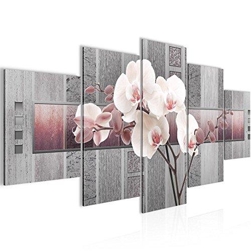 Bild 200 x 100 cm - blumen Bilder- Vlies Leinwand - Deko für Wohnzimmer -Wandbild - XXL 5 Teilig Teile - leichtes Aufhängen- 800751c