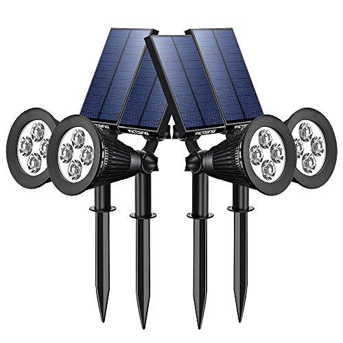 [Upgraded 200 Lumen]VICTSING Solarbetriebene LED Solarleuchten Gartenleuchten Solarlampe Aussenleuchten Außenleuchte Wasserdicht Spotlight für Garten Outdoor Landscape Baum Auffahrt Yard Rasen Pathway - 4 Stück