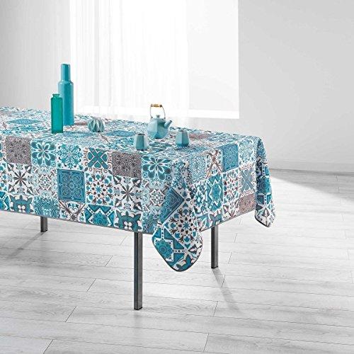 Nappe de table antitache 150x240cm PERSANE BLEU