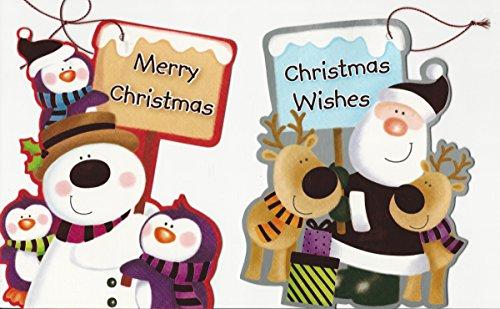 96giant 18cm/17,8cm di natale etichette regalo/decorazioni. babbo natale/renna/pupazzo di neve/penguins w segno