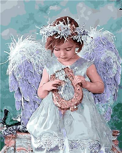 MBYWQ Malen nach Zahlen Weißer Engel Bild Raum DekorationKleidete Hübsches Mädchen TanzenHandpaint Zeichnung Auf Leinwand Wandkunst Rot (Ohne Rahmen) -