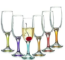 Famacart Tableware Serving Glasses Champagne Flutes Glass 200ml (Multicolor)