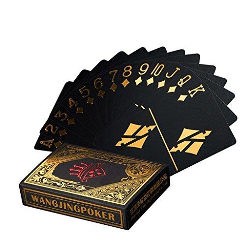 Wasserdichtes Pokerkarten schwarze Spielkarten Profi Poker Karte Spielkarte playing cards aus Plastik Top Qualität Plastic Poker für Ihr Poker Vergnügen (Gold)