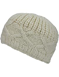WOOL KNIT HAT CHUNKY CABLE KNITTED BEANIE 4 Colours