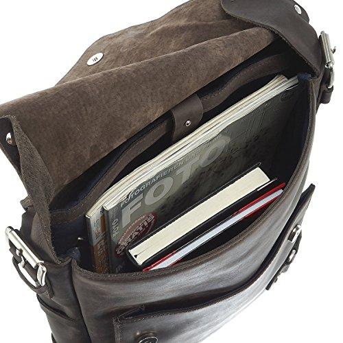 Harold's Ivy Court Borsa a tracolla pelle 29 cm compartimente Laptop Nero