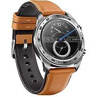 Honor horloge in klassiek horlogedesign met 3 cm (1,2 inch) AMOLED-display, Bruine leren en siliconen armband, Bruine leren en siliconen armband.