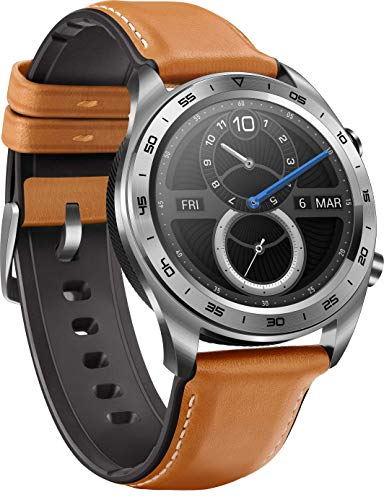 HONOR Watch im klassischen Uhrendesign mit 3 cm (1,2 Zoll) AMOLED Display, Moonlight Silver + Brown Leather & Silicone Armband