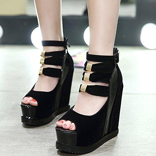 Oasap Damen Offen Aushöhlen Keilabsätzen Sandalen Black
