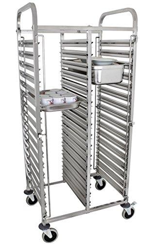 Beeketal \'BTW-20\' Gastro Tablettwagen für bis zu 32 GN Behälter, Edelstahl Speise Transportwagen mit und geräuscharmen 360° Rollen (2 x Feststellbremsen), passend für GN 1/1, 1/2, 1/3, 2/3 Behälter