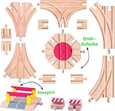 15 tlg. Set - Weichen & Schienen - aus Holz - für Holzeisenbahn - Bahnübergang / Drehscheibe / Weiche - passend für alle gängigen Schienen-Systeme - z.B. Brio / Heros / Eichhorn / Ikea / Woody u.v.m. - Eisenbahn Zubehör Weiche - Schiene / Gleise - Bahn /