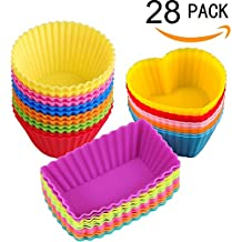 Tazas de Silicona para Hornear Moldes para Madalenas Muffins Cupcakes Coloridos- 28 Piezas