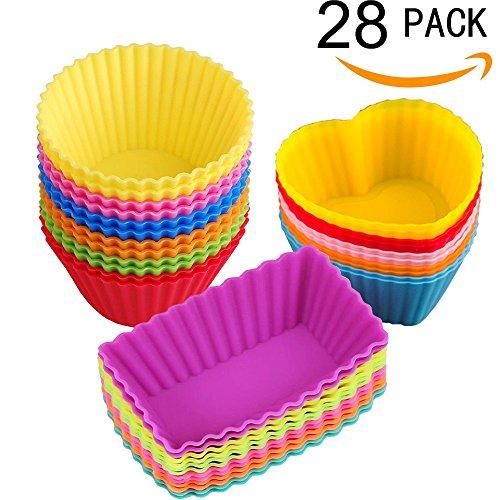 Foto de Tazas de Silicona para Hornear Moldes para Madalenas Muffins Cupcakes Coloridos- 28 Piezas
