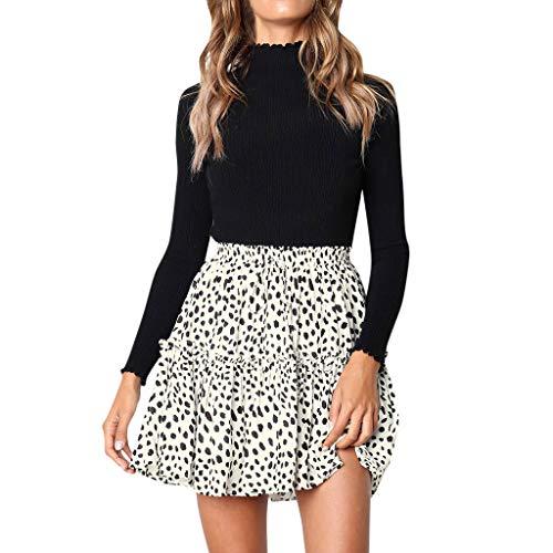 Damen Sommerkleid kurzer Rock mit Polka Dots Strandkleid A-Linie Mini Rock