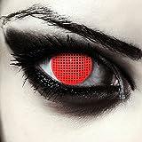 Designlenses Rosse Lenti a Contatto Colorate Rosso griglia per Halloween Costume, morbide, Non corrette Modello: Red Screen