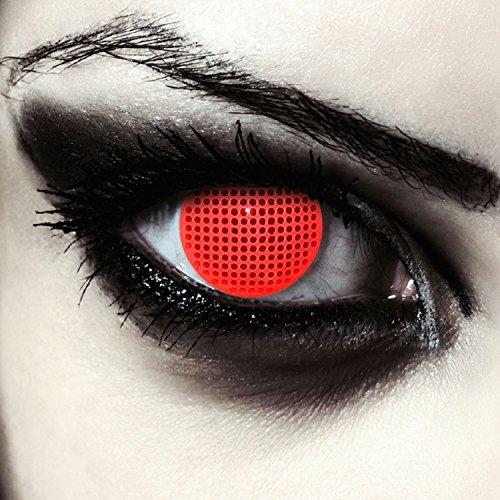 "Lentillas de colores rojas para Halloween costume cuadrícula lentes de tres meses sin dioprtías / corregir + gratis caso de lente ""Red Screen"""