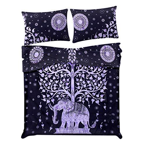 Elefant Baum des Lebens Tröster Bettbezug Doppel Bettwäsche werfen indische Bettbezug & Kissen Fall böhmischen Wurf Bettbezug Größe 80 von 50 Zoll - Indische Druck-wurfs-kissen