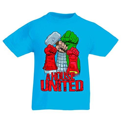 (lepni.me Kinder Jungen/Mädchen T-Shirt EIN Haus vereint! Ich Liebe Meine Familie, passende Outfits (5-6 Years Hellblau Mehrfarben))