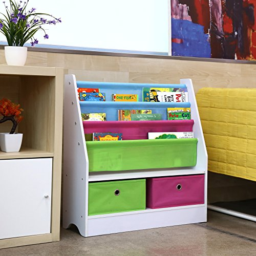 homfa kinder b cherregal kinderregal kinderkommode aufbewahrungsregal spielzeugregal. Black Bedroom Furniture Sets. Home Design Ideas