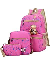 Bolsa de Lona Mochilas Escolares Mochila + Bolso de Bandolera + Billetera + Muñeca Del Oso Para Niñas Adolescentes