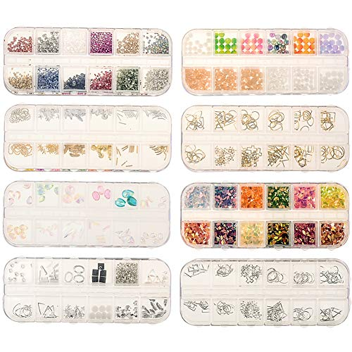 8 Boxen Acryl Strass Nagelzubehör Set 3D Nail Art Gems/Metall/Pailletten Accessoires