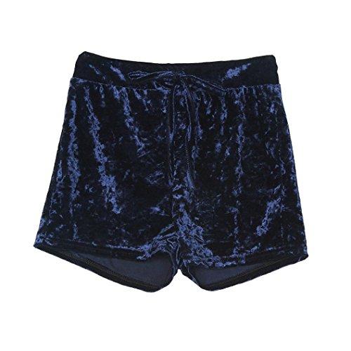 [Femmes Pantalon] Shorts éLastiques De Cordon De Velours De Femmes Pantalons DéContractéS De Grande Taille De Skinny Bleu Foncé