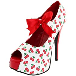 Pin Up Couture TEEZE-25-3 Wht-Red Pat (Cherries Print) UK 7 (EU 40)