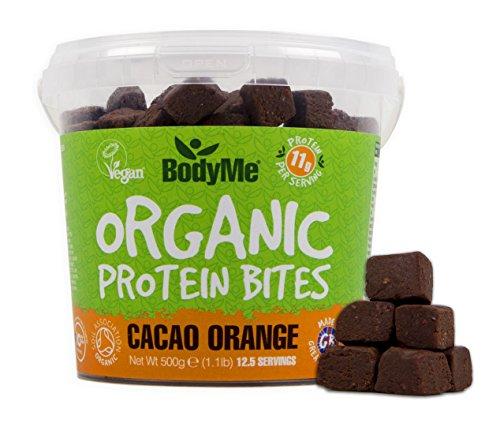 BodyMe Bio Vegane Protein Snacks Bisse | Roh Kakao Orange | 500g (12.5 x 40g Portionen) | Mit 3 Pflanze Proteine