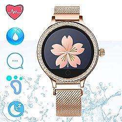 IP68 Fitness Tracker Smart Watch - Schrittzähler Uhr Smart Armband mit Herzfrequenz Schlaf Tracker Kalorienzähler Smartwatches für Frauen Anruf SMS Push Kompatibel für Android iOS (Rose Gold)
