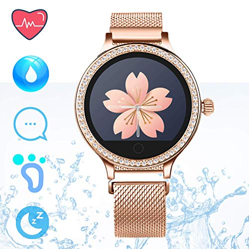Fitness Tracker IP68 Smartwatch Android iOS - Smart Watch Telefono Bluetooth Pedometro Step Counter Smart Bracciale Sleep Monitor Calorie Counter per Donne Chiamare SMS Push