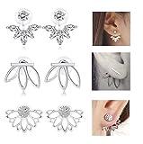 Milacolato 3 Paar Lotus Blume Ohrringe Jacken Für Frauen Mädchen Einfache Chic Ohrstecker Ohrringe