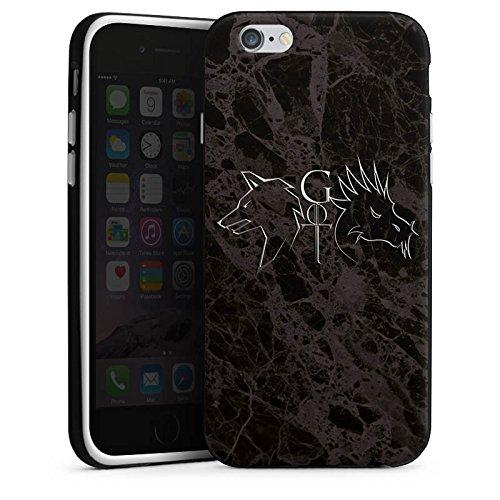 Apple iPhone 6 Silikon Hülle Case Schutzhülle GOT Game of Thrones Drache Wolf Silikon Case schwarz / weiß