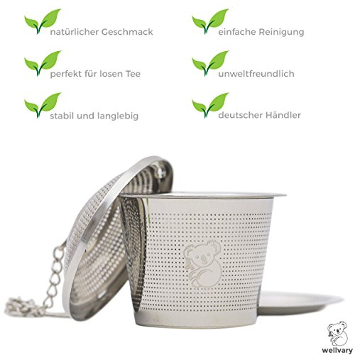 Premium Edelstahl Teeei | hochwertiges Teesieb & Teefilter | Teekugel für losen Tee | feinster Teegenuss im edlem Veloursbeutel (grau) von wellvary - 2er Set - 3