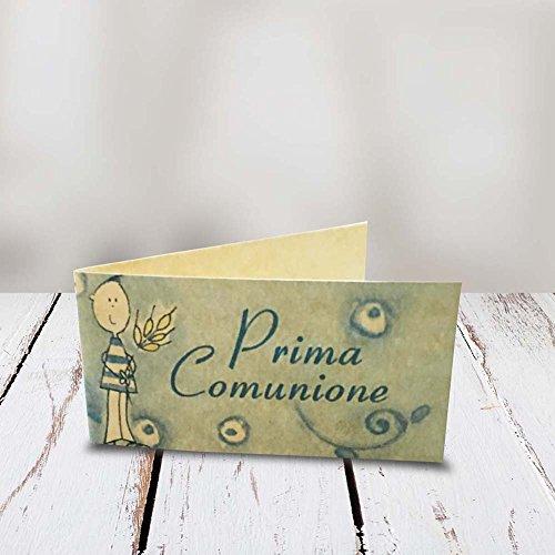 Kamiustore bigliettini comunione bimbo/bimba carta pergamena in 3 diverse fantasie set da 20, 50, 100, pezzi (azzurro, set da 100 bigliettini)