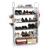 TOP-MAX Steel Shoe Rack 6 Tiers 18 Pairs Capacity Portable Stackable Standing Storage Rack Organiser 57 X 27X 100cm