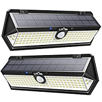 LITOM Solar Motion Sensor Light, Large Size 122 LED solar lights with Front button, Indicator Lights, 3 Modes and IP67 Waterproof rating for Door, Garden, Deck, Porch