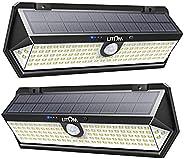 LITOM Solar Motion Sensor Light, Large Size 122 LED solar lights with Front button, Indicator Lights, 3 Modes