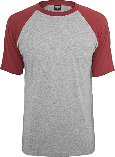 Urban Classics Herren Raglan T-Shirt – verschiedene Farben grey/ruby