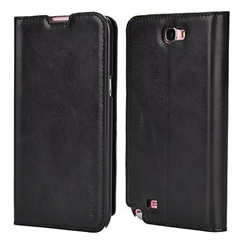 Coque Samsung Galaxy Note 2,Mulbess Étui Housse en Cuir pour Samsung Galaxy Note 2, Format Livre Horizontale Emplacements pour Cartes, Auto-support Support Bureau - Noir