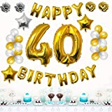40th Happy Birthday Party Balloons, Supplies & Decorations by Belle Vous - 26 Pc Set - Large 40 Year Foil Balloon ? 12? Gold & Silver Latex Balloon Decoration - Decor Suitable for Adults Men & Women